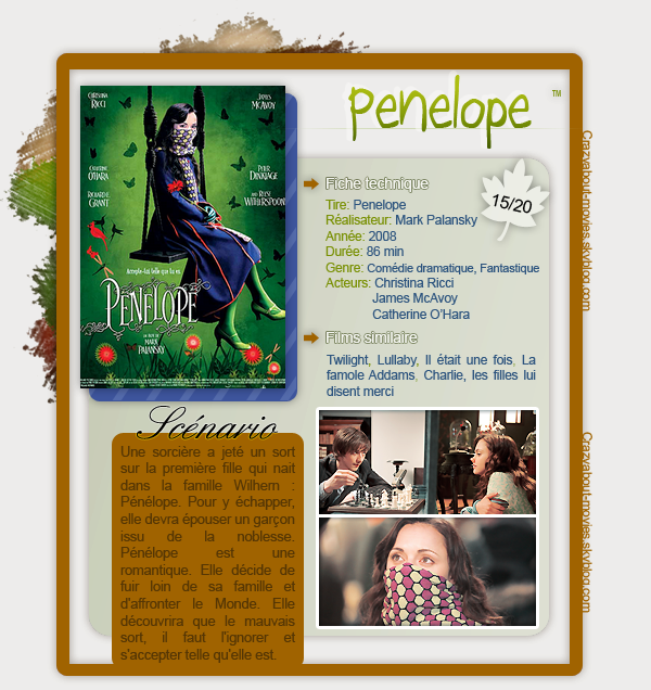 Pénélope (2006) de Mark Palansky avec Christina Ricci, James McAvoy, Catherine O'Hara