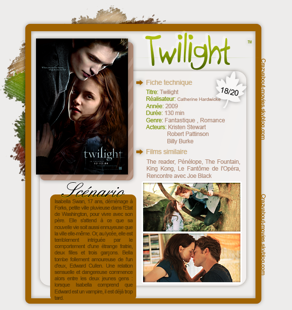 Twilight de Catherine Hardwicke avec Kristen Stewart, Robert Pattinson et Billy Burke