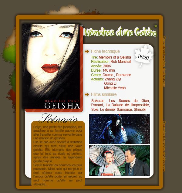 Mémoires d'une Geisha de Rob Marshall avec Zhang Ziyi, Gong Li et Michelle Yeoh
