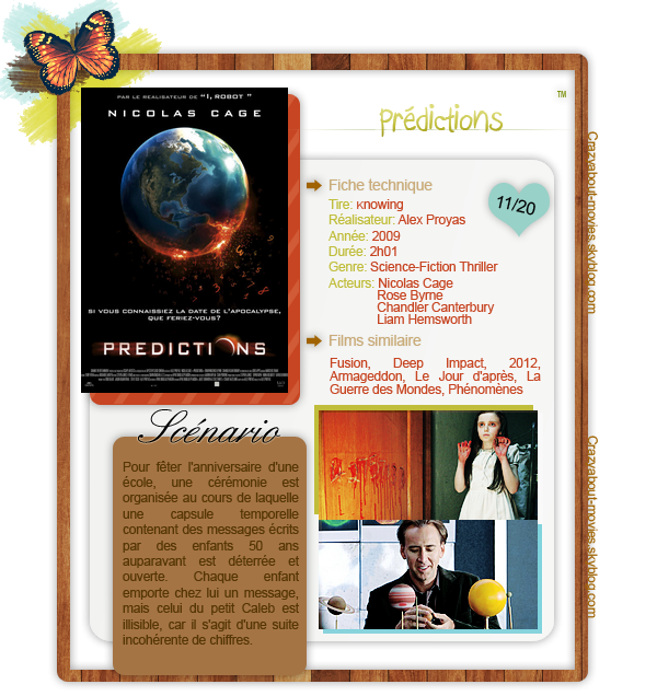 Prédictions de Alex Proyas avec Nicolas Cage, Rose Byrne, Chandler Canterbury et Liam Hemsworth