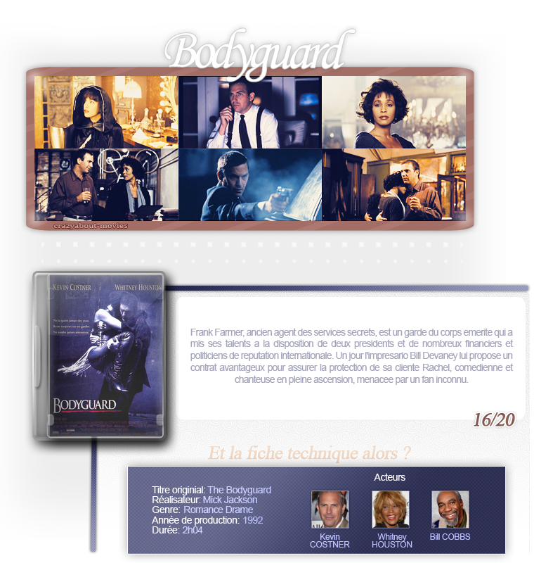 Bodyguard de Mick Jackson avec Kevin Costner, Whitney Houston et Bill Cobbs