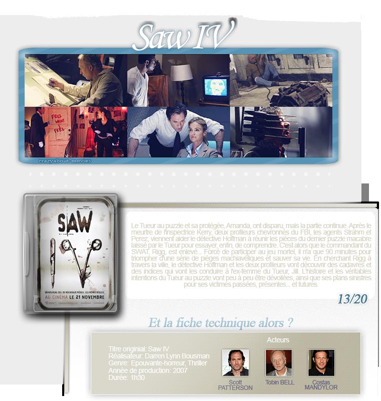 Saw IV de Darren Lynn Bousman avec Tobin Bell, Costas Mandylor et Scott Patterson