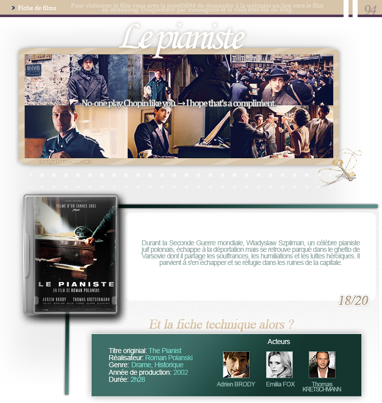 Le pianiste de Roman Polanski avec Adrien Brody, Thomas Kretschmann et Emilia Fox