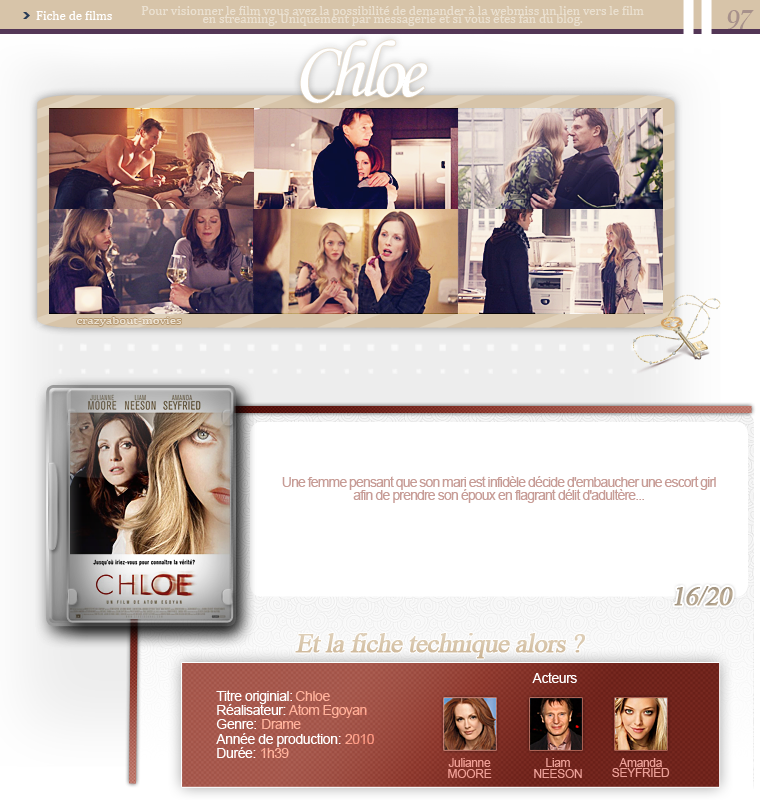 Chloe de Atom Egoyan avec Julianne Moore, Liam Neeson, Amanda Seyfried, Nina Dobrev et Max Thieriot