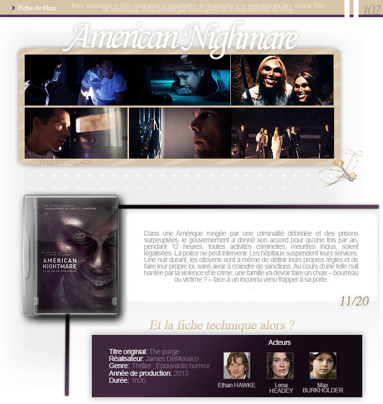 American Nighmare de James DeMonaco avec Ethan Hawke, Lena Headey et Max Burkholder