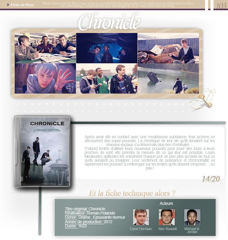 Chronicle de Josh Trank avec Dane DeHaan, Alex Russell et Michael B. Jordan