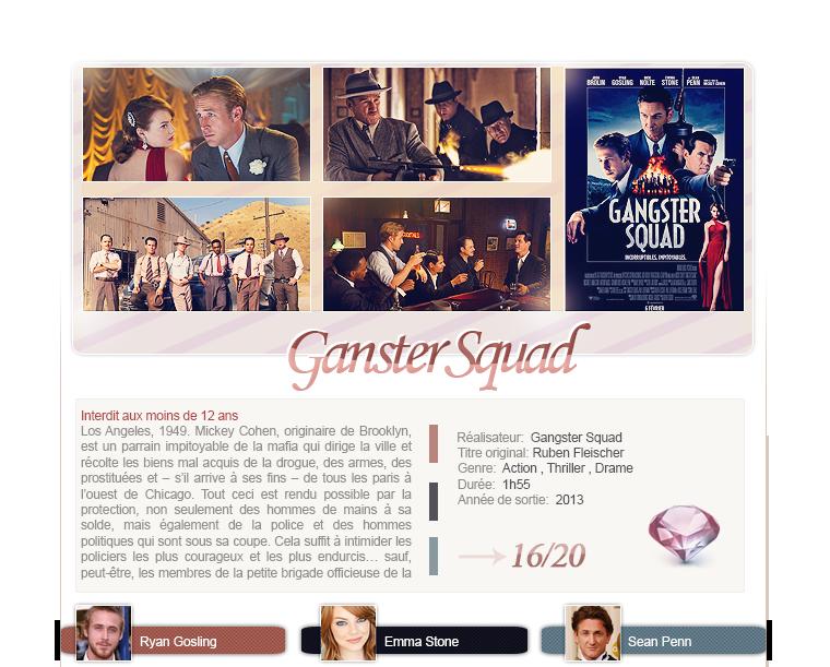 Gangster Squad de Ruben Fleischer avec Ryan Gosling, Emma Stone et  Sean Penn