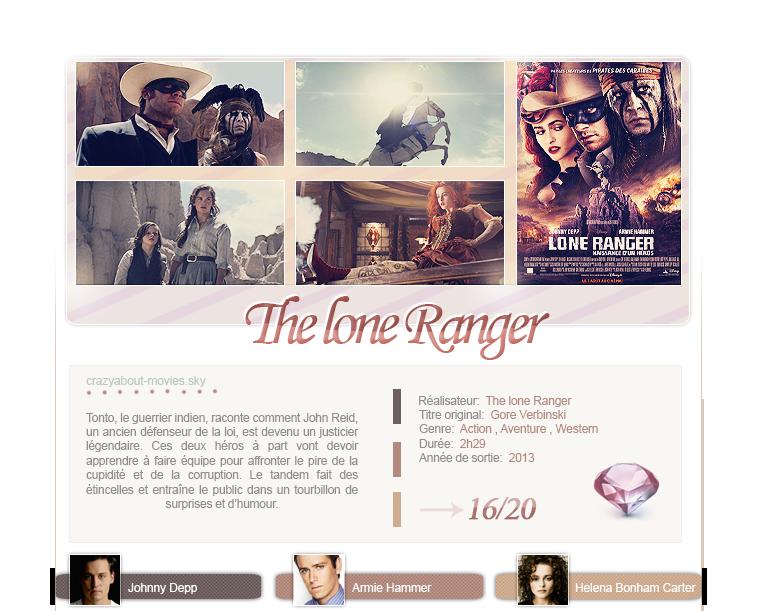 The Lone Ranger: la naissance d'un héro de Gore Verbinski avec Johnny Depp, Armie Hammer et Helena Bonham Carter