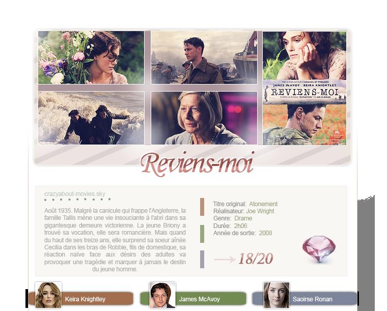 Reviens moi de Joe Wright avec Keira Knightley, James McAvoy, Saoirse Ronan, Benedict Cumberbatch et Jérémie Rénier