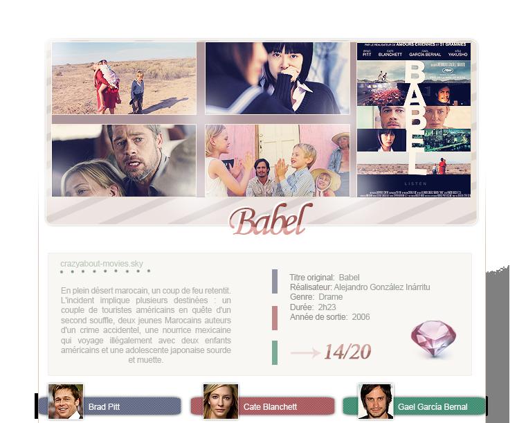 Babel de Alejandro González Inárritu avec Brad Pitt, Cate Blanchett, Gael García Bernal,