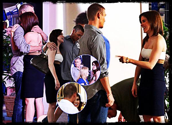 ••● Tournage ►    - -  - - - - - - - - - - - - - - - - - - - - - - - - - - - - - - - - - - - - - - - - - - - - - - - - - - - - - -  Le 25 Avril 2008, les anciens amants tournaient une scène pour le dernier épisode de la saison. Leur personnage respectif ont une scène particulièrement adorable, quand Lucas vient voir Brooke car elle emmène Angie alors que celle ci lui a interdit de venir. Dans cette scène, nous pouvons voir que les deux personnages tiennent énormément l'un à l'autre, tous les fans de Brucas ont été très content. Par ailleurs, ces photos ont été prises entre la scène, et nous pouvons voir aussi que Chad & Sophia rigolent ensemble et ont l'air de bien s'entendre. Ca fait plaisir !