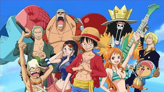 L'équipage de Luffy au chapeau de paille et leur Jolly Roger.