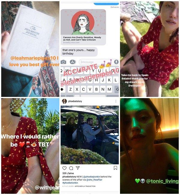 Du 13 au 30 Juillet 2018, Phoebe a posté sur son Instagram