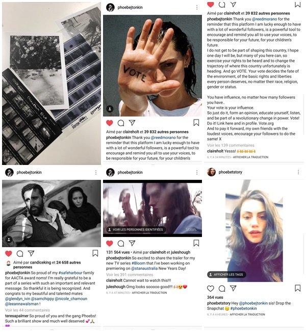 Du 13 Octobre au 19 Novembre 2018, Phoebe a posté des photos sur son Instagram