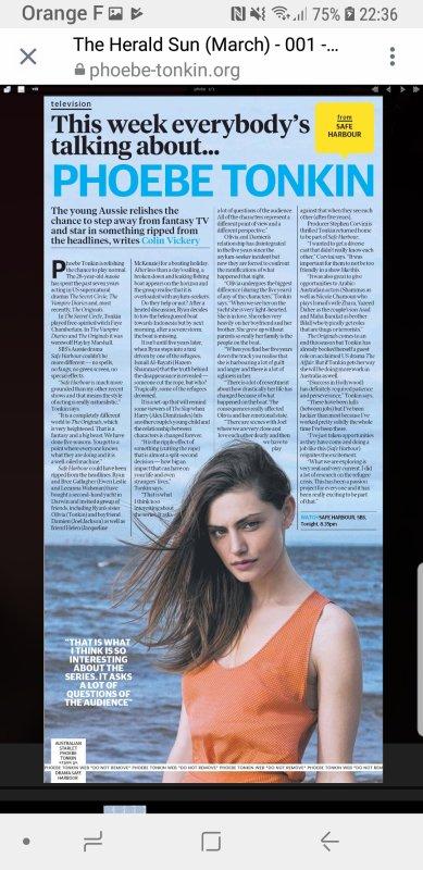 Phoebe Tonkin dans la magazine 'Who' de l'édition du 19 janvier 2019