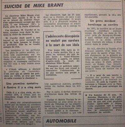 MIKE BRANT ~ le suicide