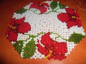 Napperon hibiscus création de Sandrine Robitaille