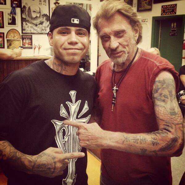 Le nouveau tatouage de Johnny Hallyday réalisé mi,mai 2013 à Los Angeles