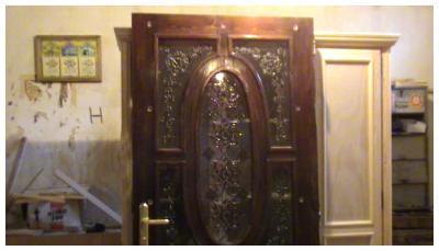 Ma cr ation de porte d 39 entr e avec des motifs en vitrail cr atrice de vitrail en algerie - Porte d entree avec vitrail ...