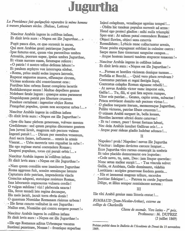 Rimbaud Cahier De Douai La Poesie Satirique Cours De