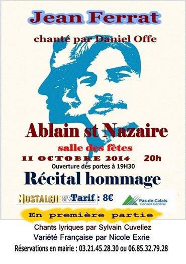 recital  hommage à jean ferrat à Ablain saint nazaire le 11 octobre à 20 h salle des fêtes