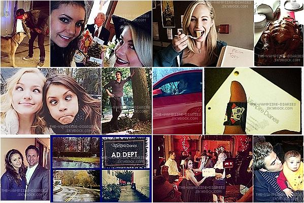 Voici des nouvelles photos posté par le Cast de TVD sur Twitter et sur Instagram !!