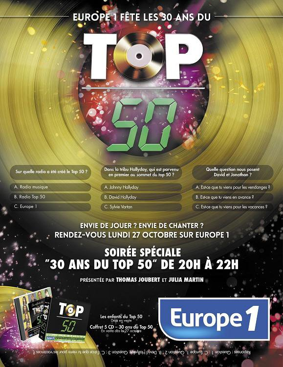 30 ans du Top 50 - Thomas Joubert et Julia Martin (27 octobre 2014)