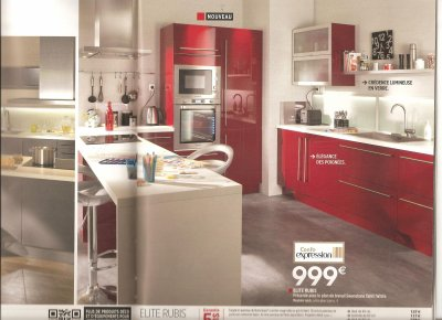 choix de la cuisine nous avons choisi le mod le lite couleur rouge rubis de chez conforama. Black Bedroom Furniture Sets. Home Design Ideas