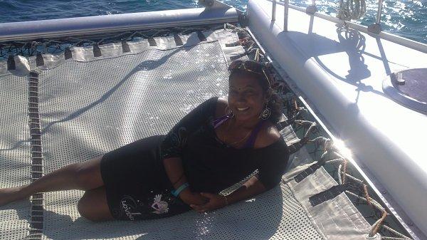 M0i sur le Catamaran à Maurice