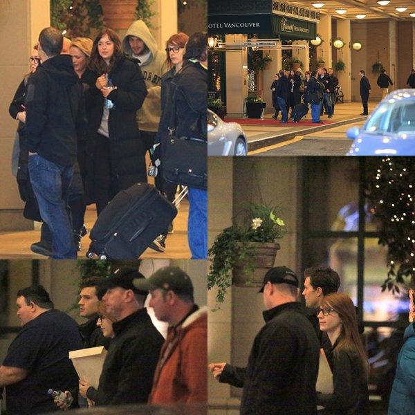 """Dakota et Jamie arrivant à l'hôtel """"Fairmont"""" pour tourner des scènes de FSOG à Vancouver."""