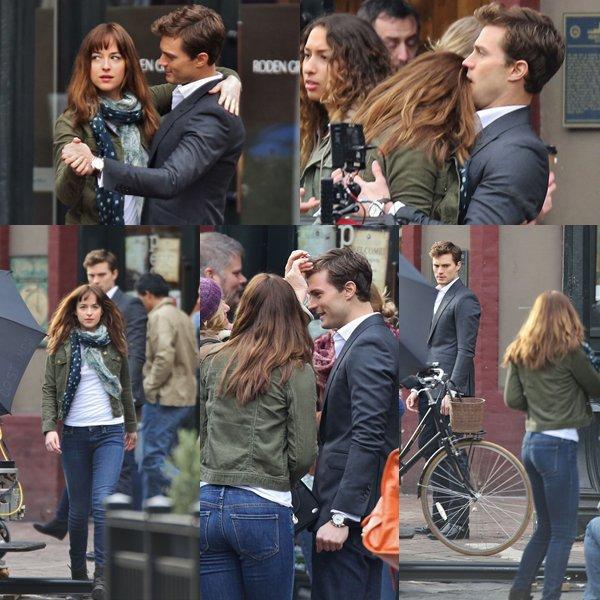 Dakota et Jamie en plein tournage de FSOG pour une scène clé du film
