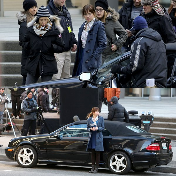 Dakota tournant la scène où Ana va interviewer le fameux Christian Grey.