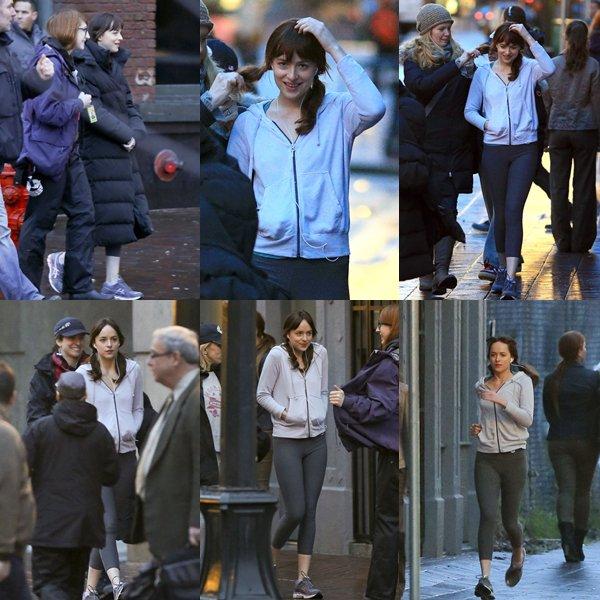"""Journée """"jogging"""" pour Dakota et Jamie sur le tournage de FSOG à Vancouver."""