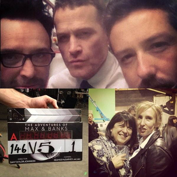 Dana Brunetti un des producteurs FSOG a posté sur son compte facebook une photo de lui et Jamie pour le dernier jour de tournage. Avec comme légende: Christian Grey eats at Freddy's BBQ? @HouseofCards #HoC