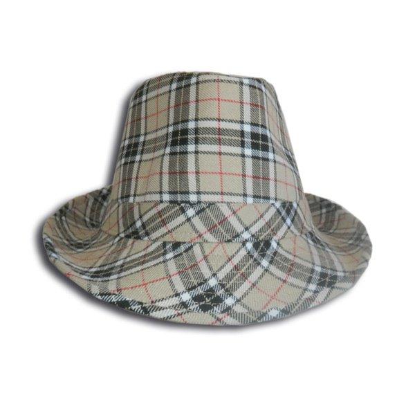 chapeau borsalino couleur marron a carreaux