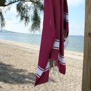 fouta tunisienne rouge amarante drap de bain hammam