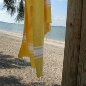fouta tunisienne jaune citrons drap de bain hammam