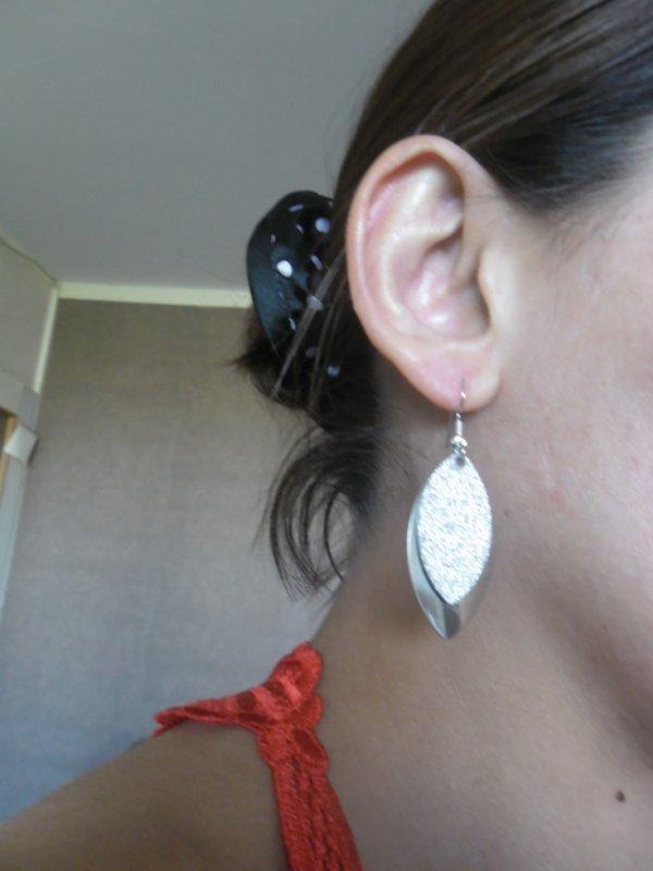 les jolies boucles d'oreilles que m'a offert une amie pour mon anniversaire