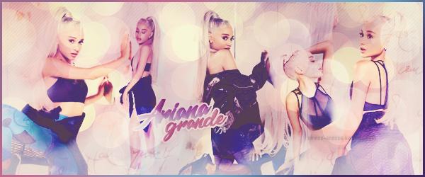 - •• Bienvenue sur Ariana-Grande - ton blog sur toute l'actualité de Ariana Grande. Suivez le quotidien de la sublime Ariana Grande, jeune chanteuse américaine connue pour être devenue l'un des modèles la plus demandées à présent !-