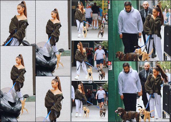 """"""" -22/09/18 •- C'est de bon matin que Ariana Grande est aperçue promenant ses chiens dans la ville de New York !En effet ce jour la, la chanteuse était en compagnie de son chien Toulouse, mais aussi du chien de Mac Miller : Myron qu'elle à adopté suite à son décès.."""""""