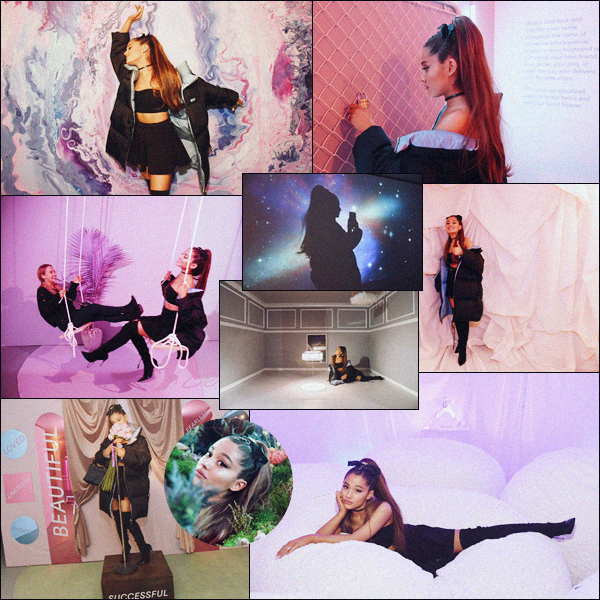 """"""" -28/09/18 •- Ariana s'est rendue à son propre événement nommé « Sweetener Exhibition  », dans New York City !C'est avec Spotify qu'Ariana à offert l'opportunité à ses fans de comprendre l'univers de son album Sweetener. Pour chaque chanson une pièce différente."""""""