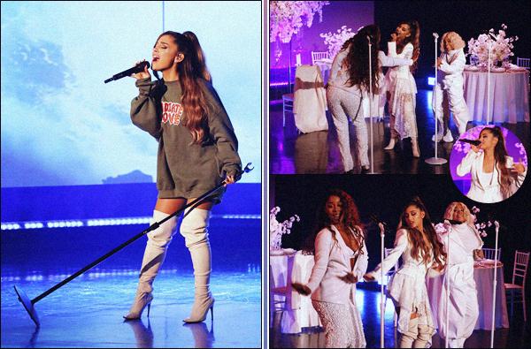""""""" -07/11/18 •- Miss Ariana Grande était invitée à la célèbre émission « The Ellen Degeneres Show » en Californie ! La chanteuse y à interprété son single : « Breathin » ! Ensuite c'est avec ses deux copines qu'elle à performé son tout dernier single : « Thank u, next ». ."""