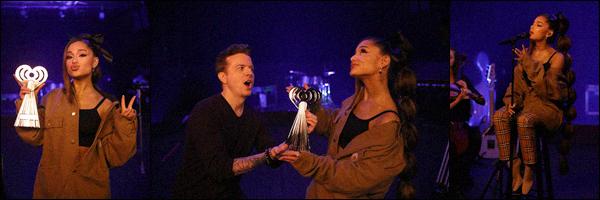 """"""" -14/03/19 •-  Ariana Grande était invitée à performer lors des :  « iHeart Radio Music Awards » dans Los Angeles !Ariana a remportée l'award de l'artiste de l'année. N'ayant pas le temps de s'y rendre, la belle a pré-enregistré une performance de son single « Needy ». ."""