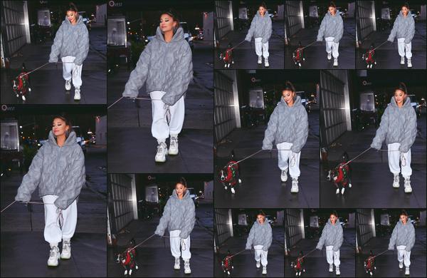 """"""" -18/11/19 •- La magnifique Ariana Grande a été photographiée en balade avec son chien Myron' dans New York !La belle devait' performer lors de son 'SWT' ce soir la, étant malade elle à malheureusement dût annuler son concert ! Espérons 'qu'elle se rétablisse vite. ."""