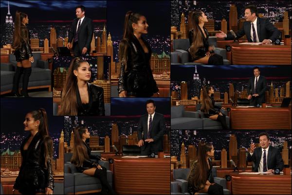 -16/08/18 •- Ariana Grande était l'invitée de l'émission « The Tonight Show starring Jimmy Fallon » à New York ! Promo-tant son quatrième album, la belle à notamment parlé d'un des morceaux intitulé : Pete Davidson, parlant évidemment de son fiancé. Votre avis ?