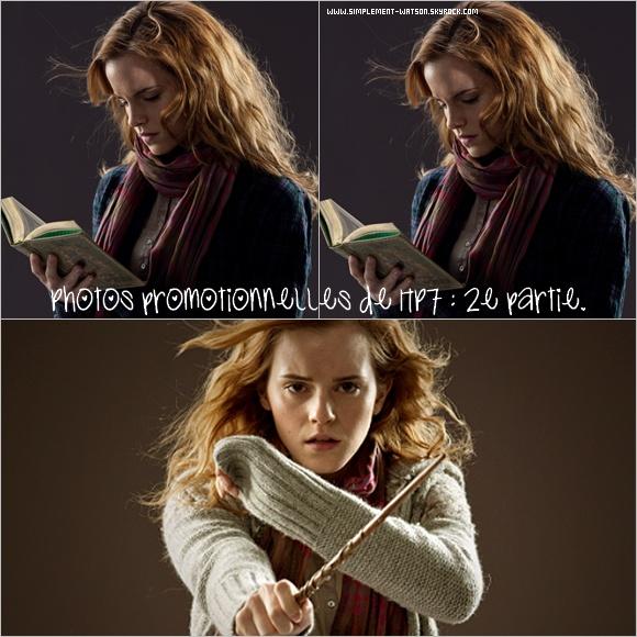 Voici les premières photos promotionnelles de HP7 2e partie. On ne peut pas vraiment dire qu'il y a du changement sur Hermione ! J'attends avec impatience les prochaines !