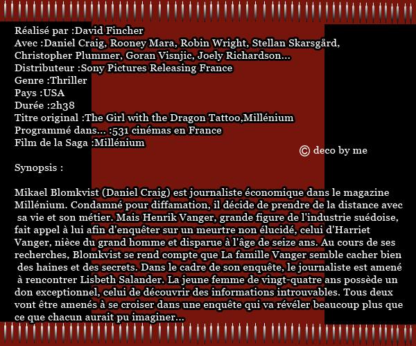 Fiche Film 123 : Millenium le 18 Janvier 2012   crea: goldenmovie
