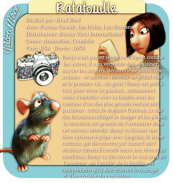 Ratatouille sortie le 1 Aout 2007