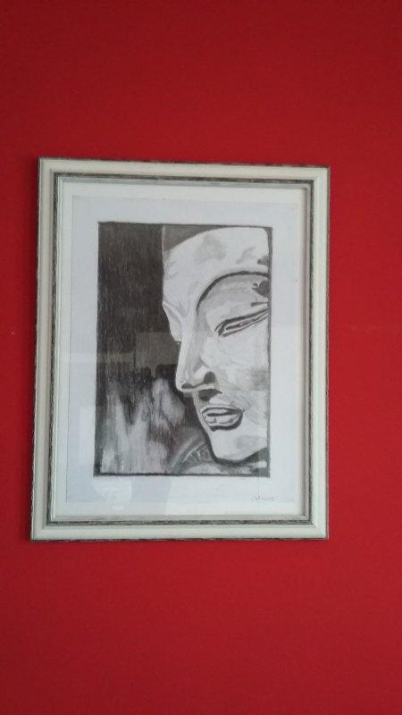 dessin au crayon et fusain 27x36 cm (reflets dans photo :( ... )