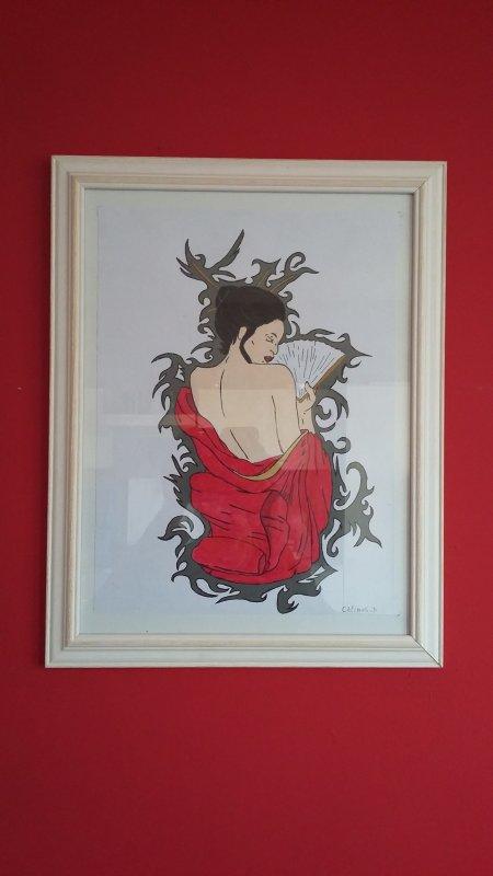 peinture acrylique sur feuille cartonné 36x27 cm ( reflet dans la photo :( ... )